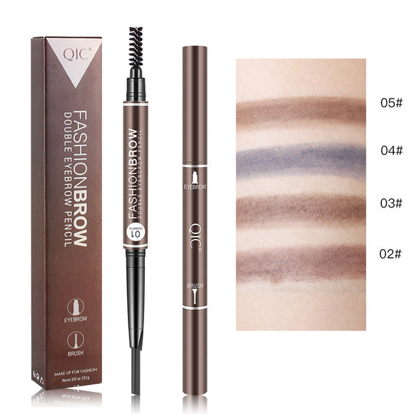 Double Head Dual-purpose Automatic Rotary Waterproof Sweat-proof Belt Brow Brush Eyebrow Pencil