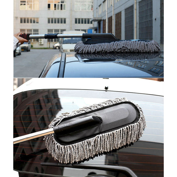 Microfiber Car Cleaning Brush Window Duster Retractable Stainless Steel Long Handle Dust Wax