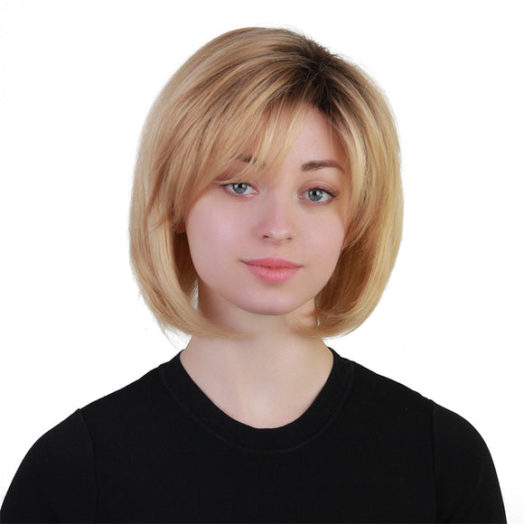 Short Dark Root Ombre Straight Human Hair Bob Wig with Bang