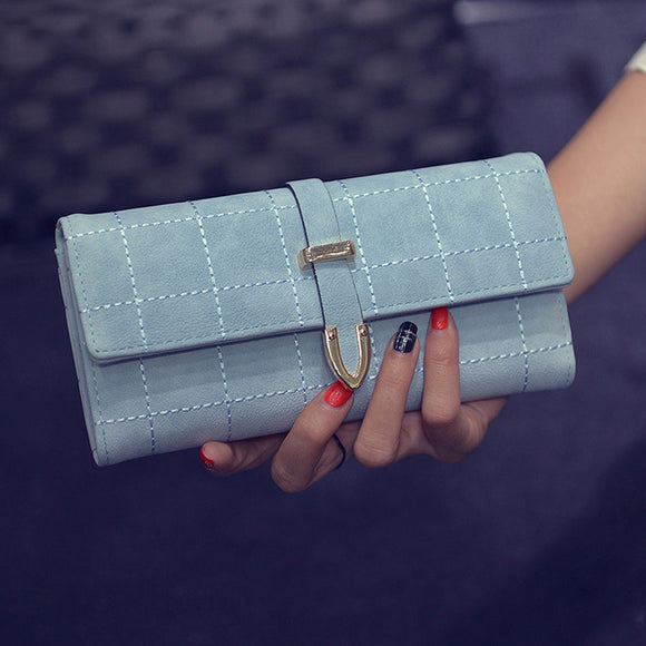 Embroidery Thread Wallets Plaid Women Clutch Bags