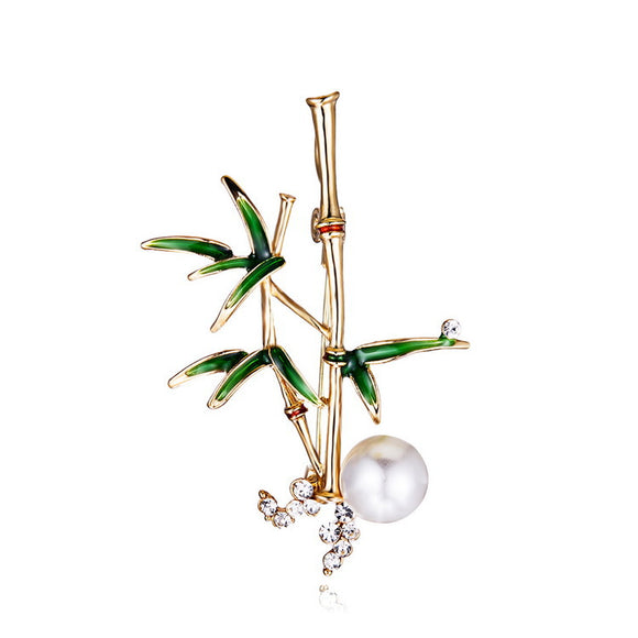 Ladies Jewelry Fashion Elegant Bamboo Rhinestone Brooch