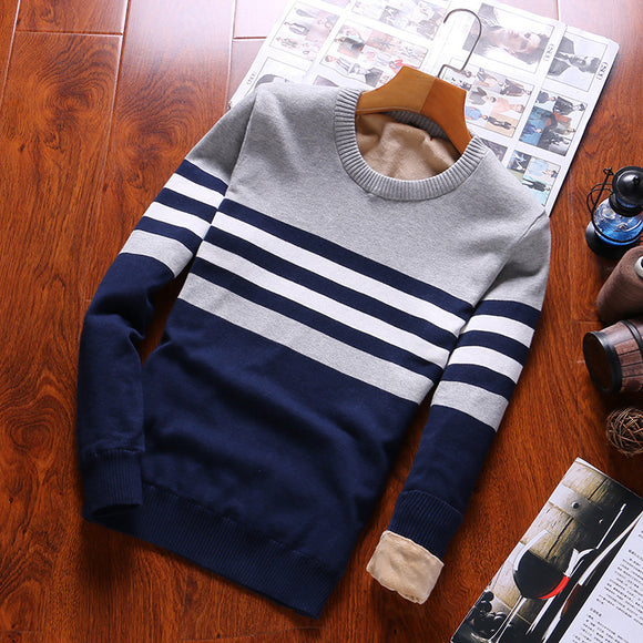 Men's Winter Plush Lining Sweater Striped Round Neck Top