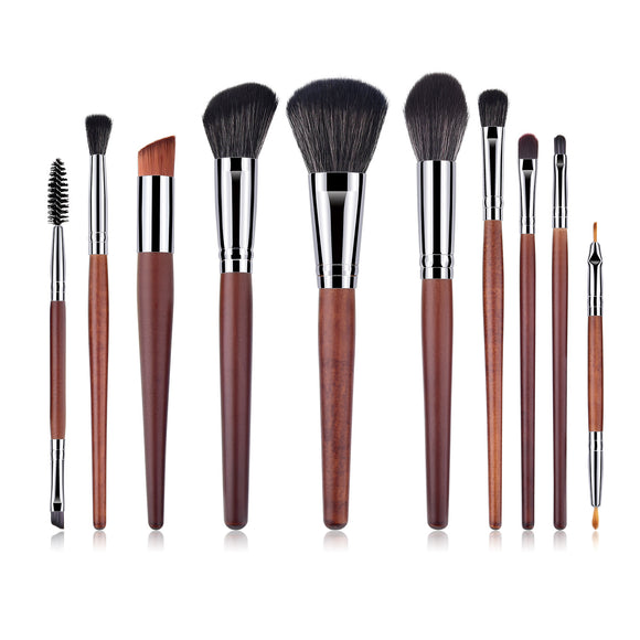 10Pcs High Quality Wooden Handle Professional Makeup Brush Sets
