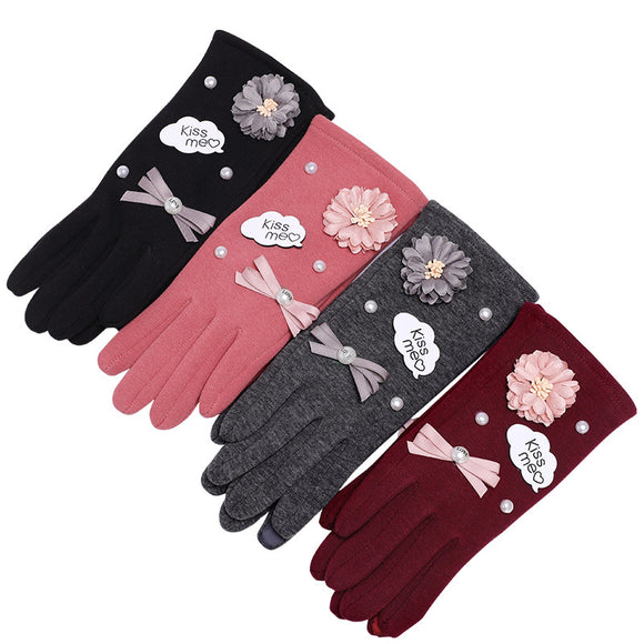 Autumn And Winter Women's Applique Imitation Pearl Faux Fur Warm Gloves Touch Screen Gloves