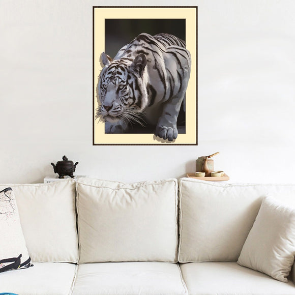 3d Diy Diamond Painting White Tiger Cross Embroidered Rhinestone Mosaic Painting Home Decor