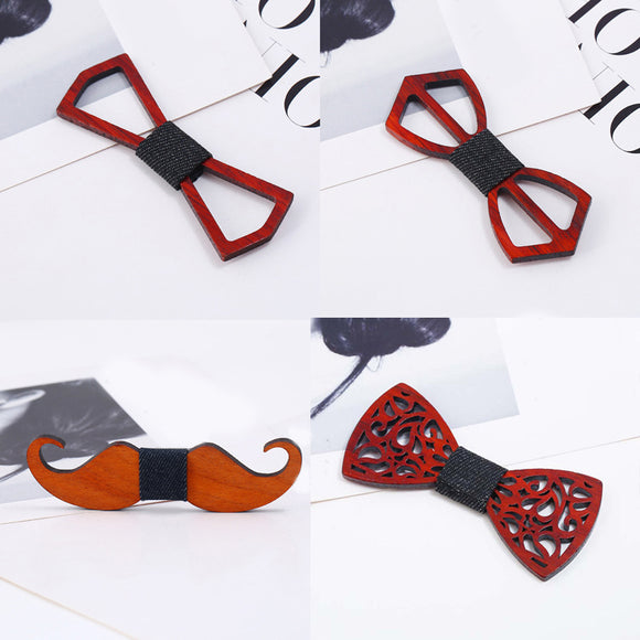 Wood Gentleman Bow Ties Handmade Butterfly Wedding Party Bow Ties Wooden Unique Tie for Men