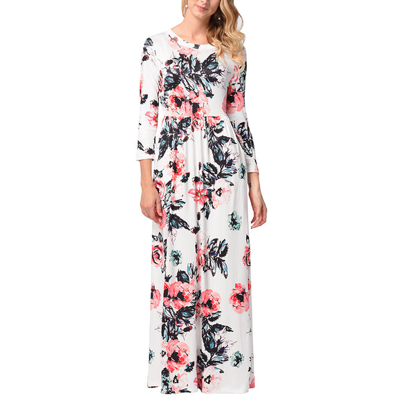 Women's Casual Floral Printed Long Maxi Dress with Pockets