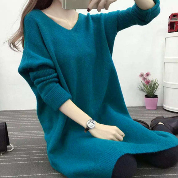 Women V-high Collar Long-Sleeved Bottoming Sweater Loose Top Dress