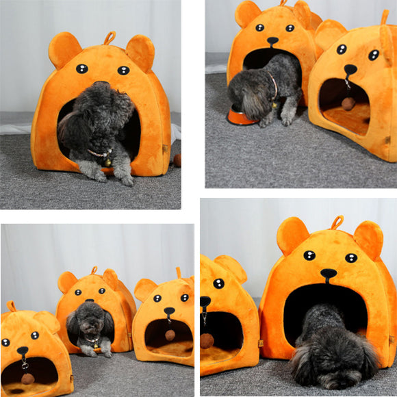 Bear-shaped Flannel Warm Pet House