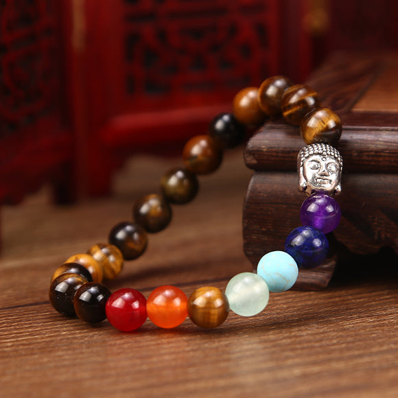 1PC Fashion Stone Buddha Head Shaped Elastic Bracelet