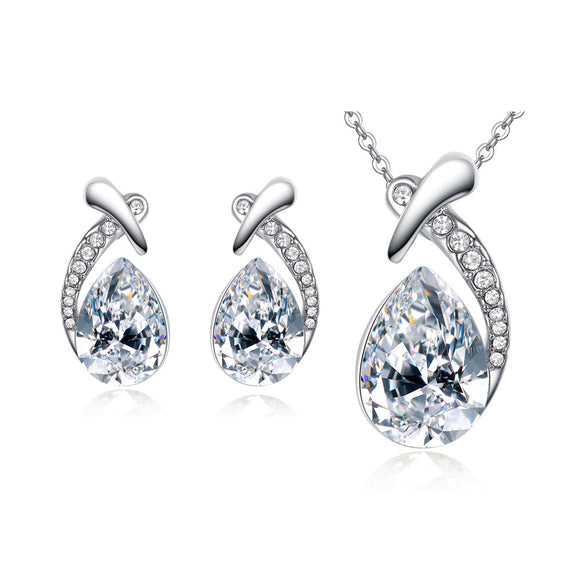 3pcs/set Women Crystal Fox And Waterdrop Shape Earrings Pendant Necklace Jewelry Sets