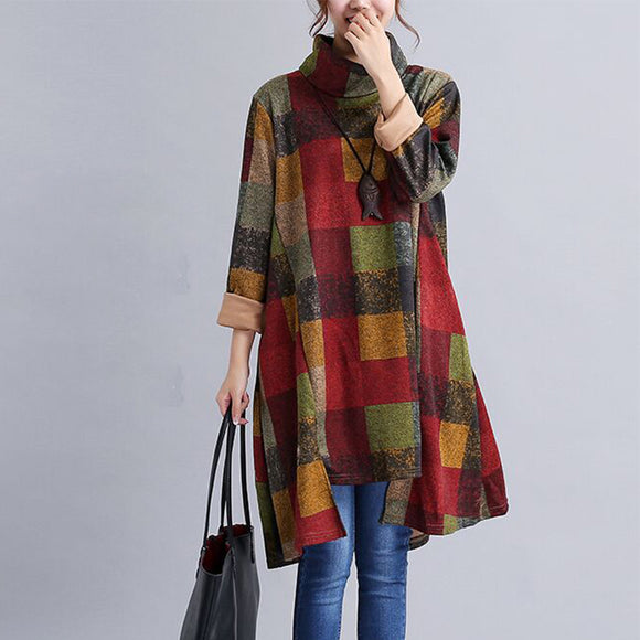 Women Autumn And Winter Long Sleeve Loose Casual Tops Blouse Dress Literary Plaid Dress