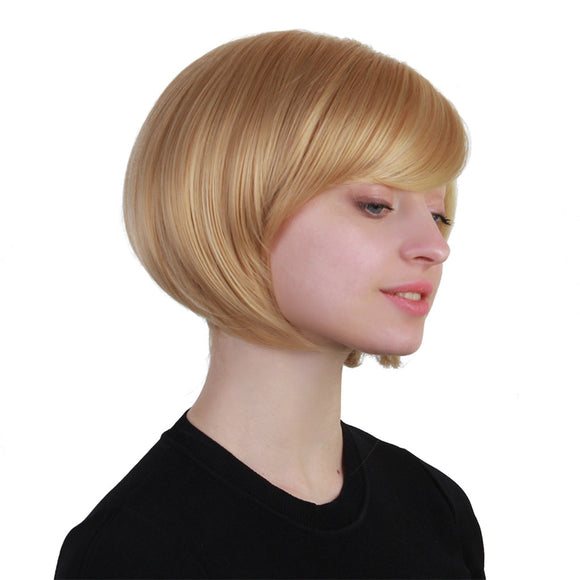 Short Straight Human Hair Bob Wig with Bang