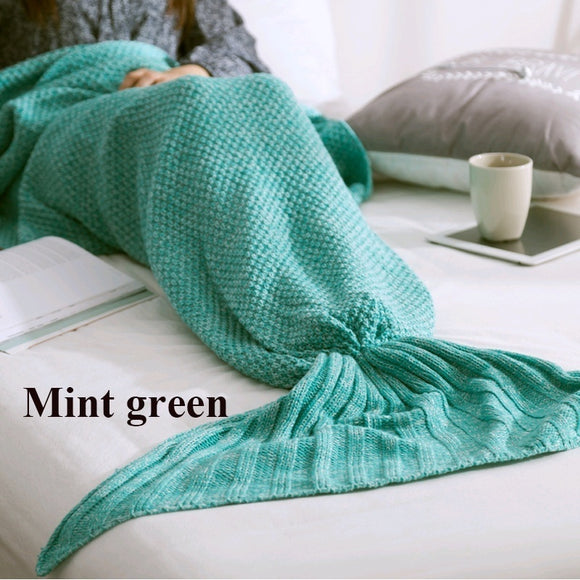 Home Creative Hand Made Warm Knitted Mermaid Tail Shape Blanket
