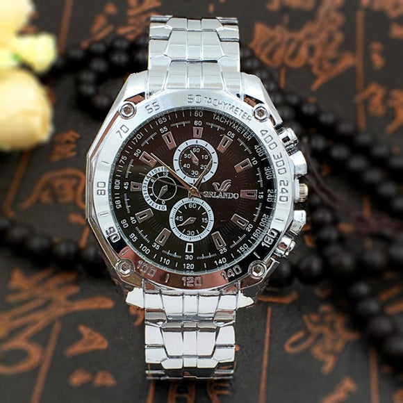 Men Luxury Stainless Steel Strap Quartz Waterproof Business Watch