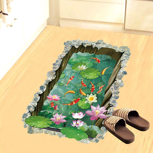 Creativity 3d Stereoscopic Fish Pond Floor Sticker Wall Sticker Home Decoration