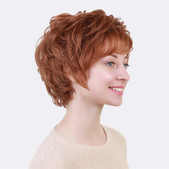 Short Fluffy Layered Elegant Human Hair Wig with Bang