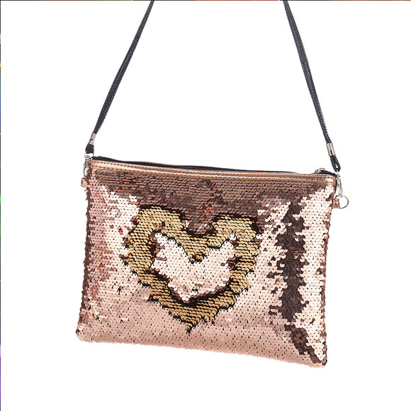Women Color Single-Sided Sequins Clutch Bag Shoulder Bag Cosmetic Bag
