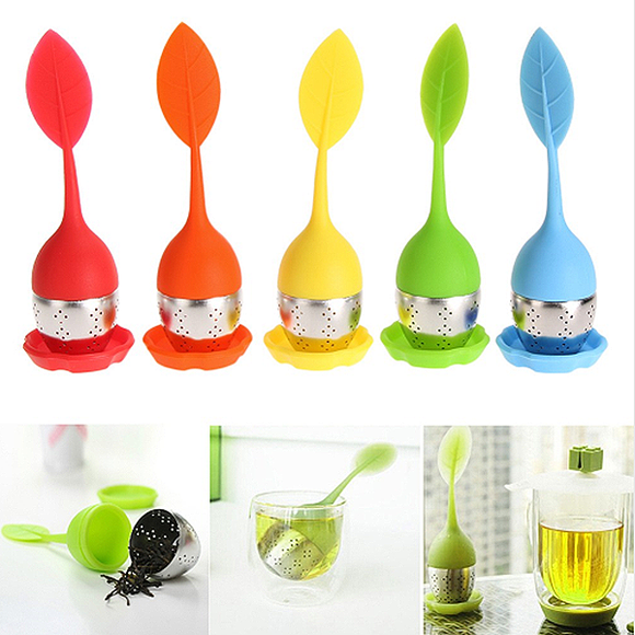 Leaf Shaped Silicone Stainless Steel Tea Infuser Strainer Coffee Tea Loose Leaf Herbal Spice Filter