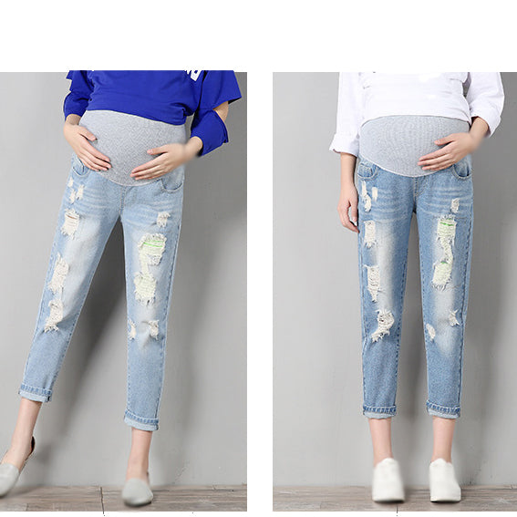 Jeans Maternity Pants Pregnant Trousers Nursing Prop Belly Legging Pregnancy Overalls Ninth Pants