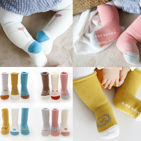 3 Pairs/pack Cute Baby Thick Warm Non Slip Combed Cotton Socks Children Winter Socks