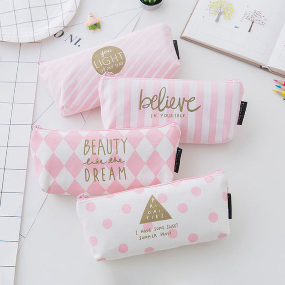 Pink Stationery Bag Creative Inverted Trapezoid Pen Bag