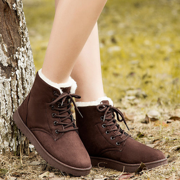 Women's Fashion Winter Lace-up Keep Warm Casual Snow Boots Cotton Shoes