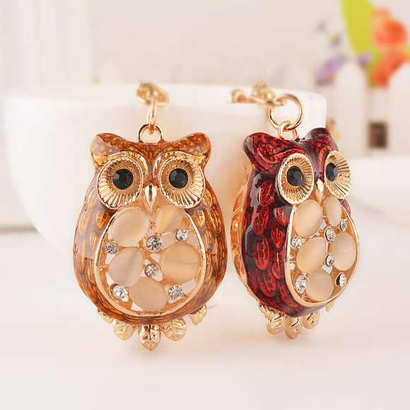 Cute Owl Car Key Chain Decoration Accessory Golden With Multi Color Crystal Car Decoration Pendant