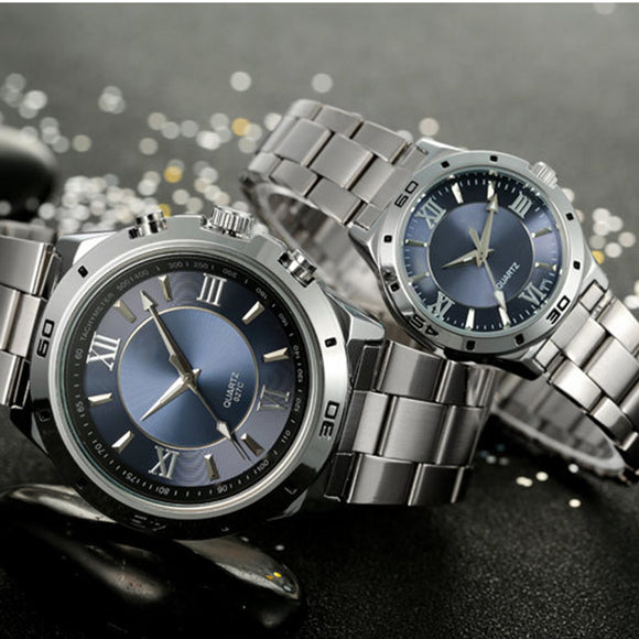 Business Waterproof Steel Watchband Casual Quartz Watch For Men Women