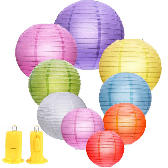 9 Pieces Paper Lanterns With 9 Led Lights Totally 18 Pieces Multicolour Lanterns