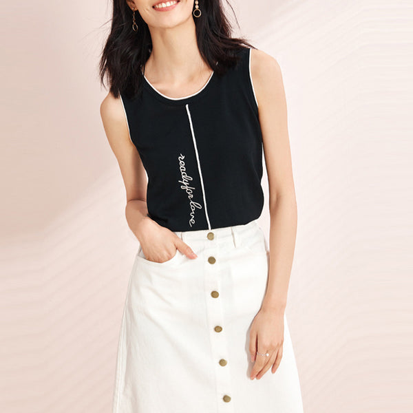 Women's Casual Sleeveless Knit Vest Letter Embroidered Thin Knit