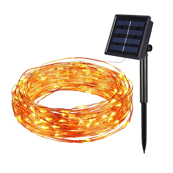 100 Lights 12 M Solar Waterproof Led Color Copper Wire Light String Festive Decoration