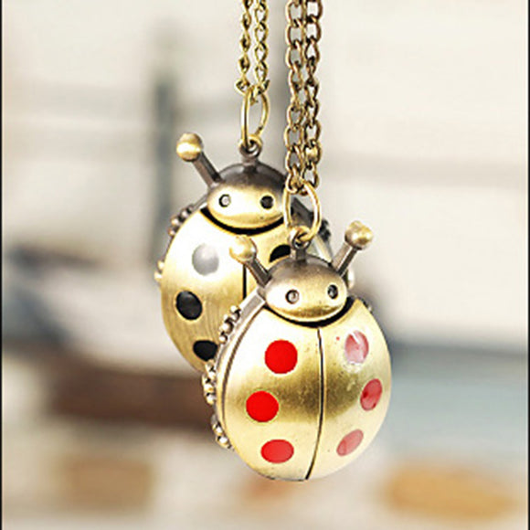 Vintage Ladybug Pocket Watch Bronze Necklace Women watch with black and red dots