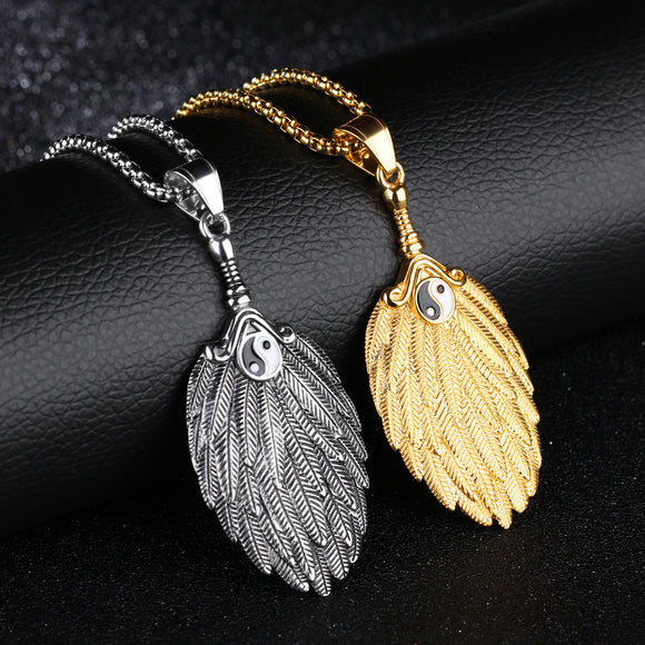 1PC Vintage Feather-shaped Pendant Men's Necklace