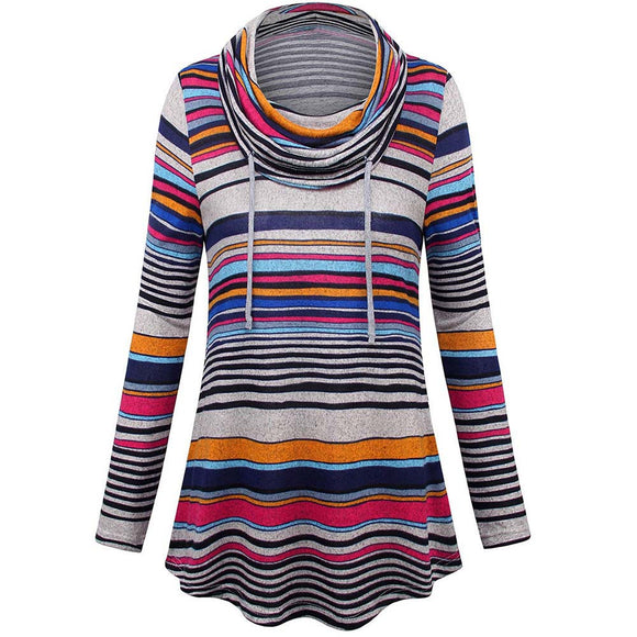 Multi-coloured Striped Long-sleeved Heap Collar Bottoming Top
