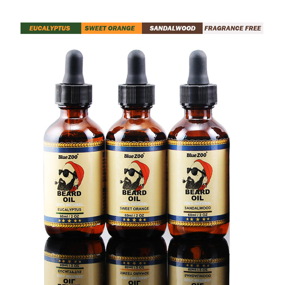 60ml Organic Men Face Beard Oil 100% Natural Soften Oil Hair Growth Nourishing