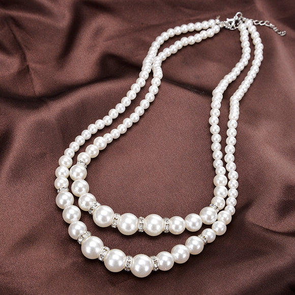 1PC Elegant Double Pearl-like With Rhinestone Women's Necklace