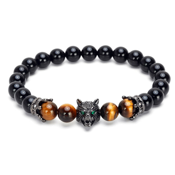 1PC Black Agate Tigereye Wolf Crown Shaped Bracelet