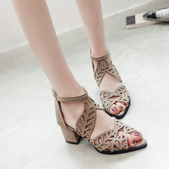 Women Fish Mouth Sandals Crystal Mid Heels Sandals Hollow Out Shoes Casual Buckle Sandals