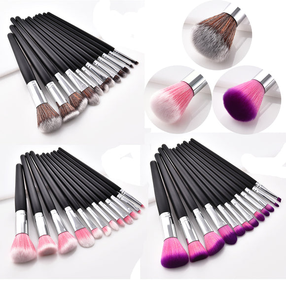 12Pcs Black Handle Professional Makeup Brush Sets 3 Colors Wools