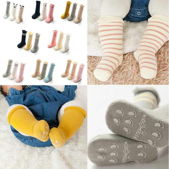3 Pairs/pack Baby Thick Non Slip Combed Cotton Socks Children Winter Socks