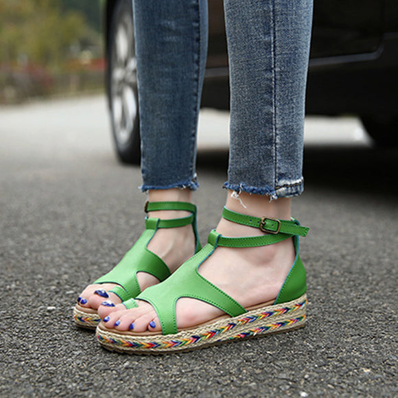 Women Sandals Straw Shoes Woman Summer Wedges Sandals Ankle Strap Sandals
