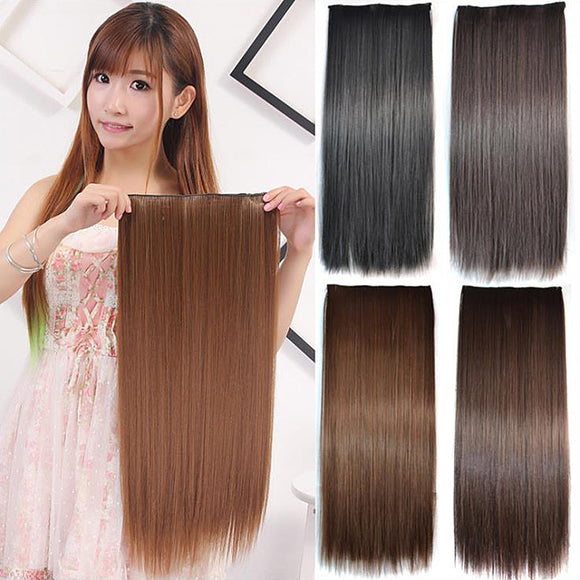 Straight Synthetic Hair High Temperature Fibre 5 Clips Hair Extensions
