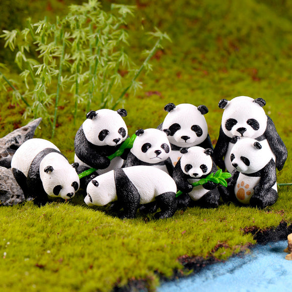 4 Pcs Panda Micro Landscape Pvc Handicraft Creative Home Doll