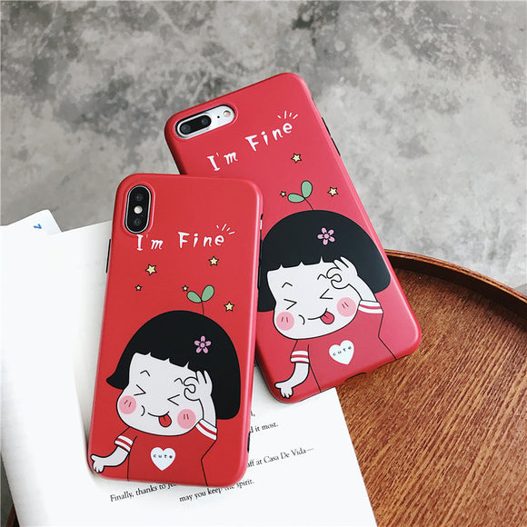 Lovely Cartoon Girl Soft Shell Phone Case For Iphone