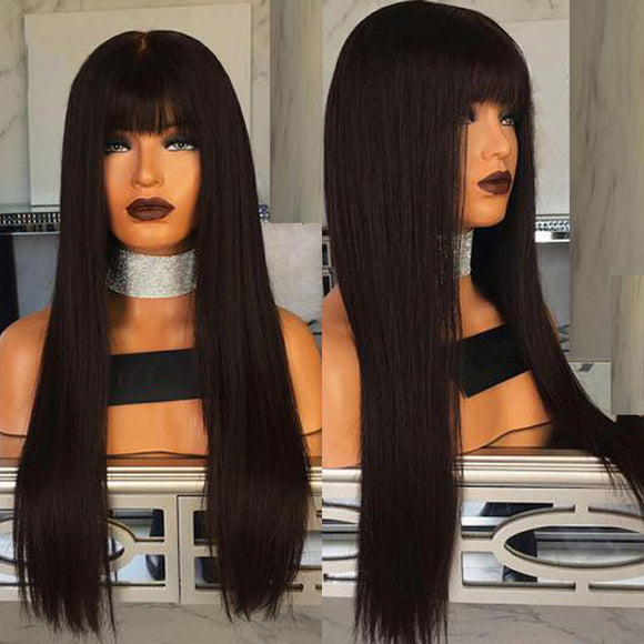 Long Full Neat Bang Straight Black Charming Synthetic Wig