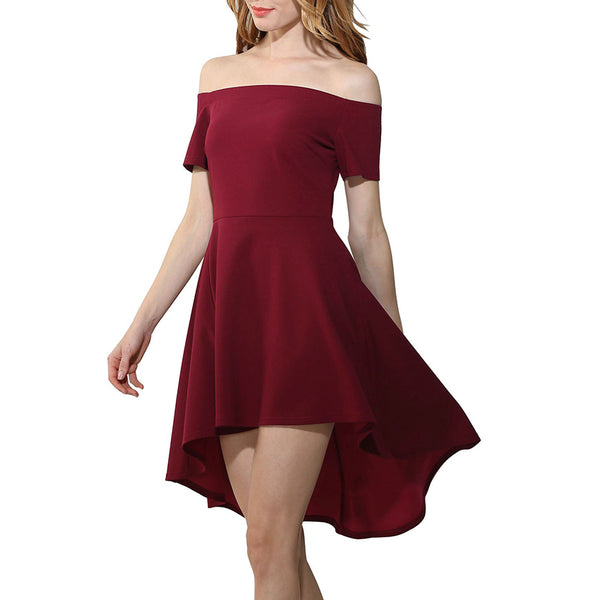 Women Off Shoulder Sleeve Irregular Dress