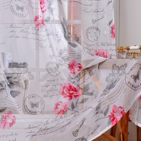 Rod Peony Printed Cotton and Linen Window Screening Bedroom Curtains