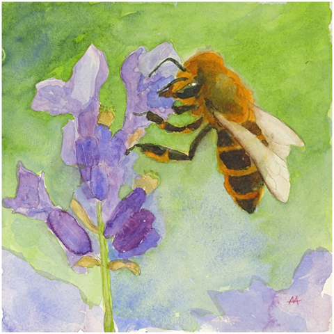 "Unframed Print  - ""Honeybee on Lavender"""
