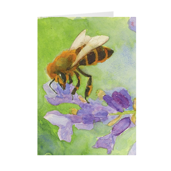 "Box of 10 Note Cards - ""Honeybee on Lavender"""